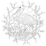 Pájaro estilizado del pelícano entre follaje Bosquejo a pulso para la página anti adulta del libro de colorear de la tensión Foto de archivo
