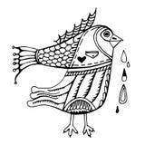 Pájaro fantástico abstracto con la espina de pescado stock de ilustración
