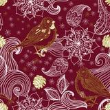 Pájaro inconsútil del fondo del doodle y elementos florales Foto de archivo libre de regalías