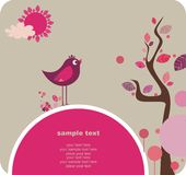 Pájaro lindo, diseño encantador stock de ilustración