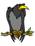 Pájaro negro grande en una rama Foto de archivo libre de regalías