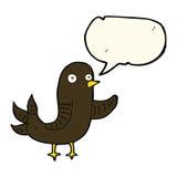 pájaro que agita de la historieta con la burbuja del discurso Foto de archivo