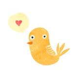 pájaro retro de la historieta con el corazón del amor Foto de archivo libre de regalías