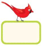 Pájaro rojo con la muestra en blanco Imagen de archivo