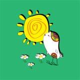 Pájaro, sol y flores Libre Illustration