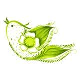 Pájaro verde con del té de las flores y de las hojas ilustración del vector