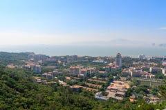 Pájaro-vista del campus de la universidad de Xiamen Fotos de archivo libres de regalías