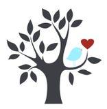 Pájaro y árbol del vector Fotos de archivo libres de regalías