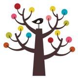 Pájaro y árbol del vector Imagenes de archivo