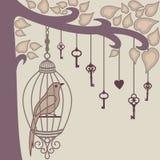 Pájaro-y-clave-de-él s-jaula del ` Imagen de archivo