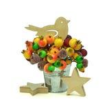 Pájaro y estrella de madera, fruta: para todo el día de fiesta Navidad Fotografía de archivo libre de regalías