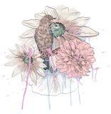 Pájaro y flor Foto de archivo libre de regalías