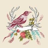 Pájaro y flor stock de ilustración