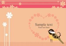 Pájaro y flores cariñosos de la tarjeta del día de San Valentín Fotografía de archivo libre de regalías