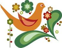 Pájaro y flores del vector para la tarjeta de felicitación Imágenes de archivo libres de regalías