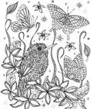 Pájaro y flores que colorean la página Tody cubano libre illustration