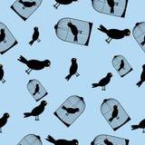 Pájaro y jaula - ejemplo inconsútil del vector Imagen de archivo libre de regalías
