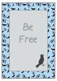 Pájaro y jaula - vector el ejemplo en fondo azul Foto de archivo libre de regalías