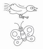 Pájaro y mariposa Imagenes de archivo