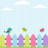 Pájaro y mariposas Fotos de archivo