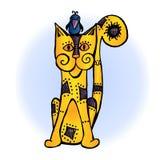 Pájaros amarillos del amor de los gatos imagen de archivo