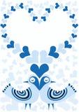 Pájaros azules del día de tarjetas del día de San Valentín con el marco de los corazones libre illustration