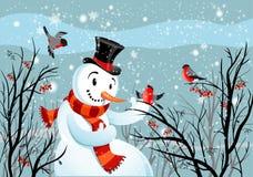Pájaros bullfinch y muñeco de nieve Imagen de archivo libre de regalías