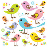 Pájaros coloridos con el modelo floral stock de ilustración