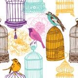 Pájaros coloridos y varia impresión de las jaulas Imagenes de archivo