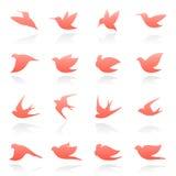 Pájaros. Conjunto del modelo de la insignia. stock de ilustración