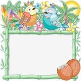 Pájaros Cuties en el ejemplo de bambú del fondo del vector del marco del verano stock de ilustración