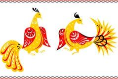 Pájaros de hadas en el estilo de la pintura de Gorodets Fotos de archivo libres de regalías