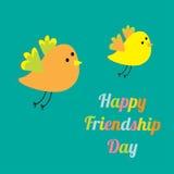 Pájaros de la historieta del día dos felices de la amistad que vuelan tarjeta Diseño plano Fotografía de archivo
