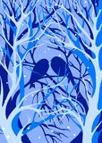 Pájaros de la silueta de los árboles del invierno Fotografía de archivo libre de regalías