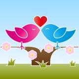 Pájaros de la tarjeta del día de San Valentín que se besan en un árbol Imagenes de archivo