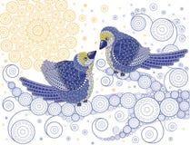 Pájaros de la tarjeta del día de San Valentín que se besan en una ramificación Imagenes de archivo