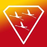 Pájaros de Logo Banner Image Flying Flamingo en Diamond Shape en fondo amarillo-naranja ilustración del vector