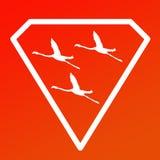 Pájaros de Logo Banner Image Flying Flamingo en Diamond Shape en fondo anaranjado stock de ilustración