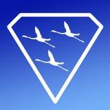 Pájaros de Logo Banner Image Flying Flamingo en Diamond Shape en fondo azul libre illustration