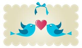 Pájaros de los pares del amor del gorjeo Imágenes de archivo libres de regalías