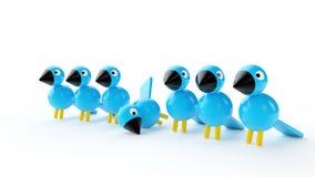 Pájaros de madera azules Stock de ilustración