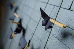 Pájaros de Origami pájaros de papel de la papiroflexia en la pared Imagen de archivo