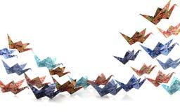 Pájaros de papel de la papiroflexia Imagen de archivo libre de regalías