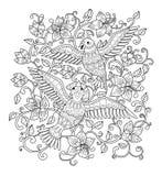 Pájaros decorativos del esquema en flores Imagen de archivo