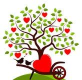 Pájaros del árbol y del amor del corazón Foto de archivo