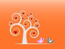 Pájaros del amor y un árbol Imágenes de archivo libres de regalías