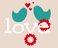 Pájaros del amor y un árbol Ilustración del Vector