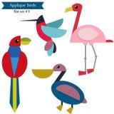 Pájaros del applique de la historieta Foto de archivo