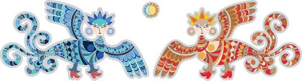 Pájaros del paraíso Stock de ilustración