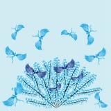 Pájaros del paraíso en un árbol del invierno Libre Illustration
